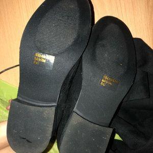 Wild Diva Shoes - Black Over The Knee Boots w Low Heel & Half Zipper
